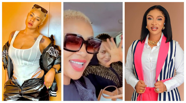 Tonto Dikeh and Angela Okorie Spotted singing Ric Hassani's song 'Thunder fire you' weeks after her break up with Prince Kpokpogri (Video)