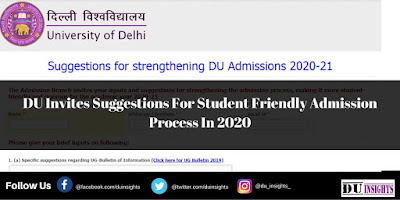 DU Invites Suggestions For Student Friendly Admission Process In 2020