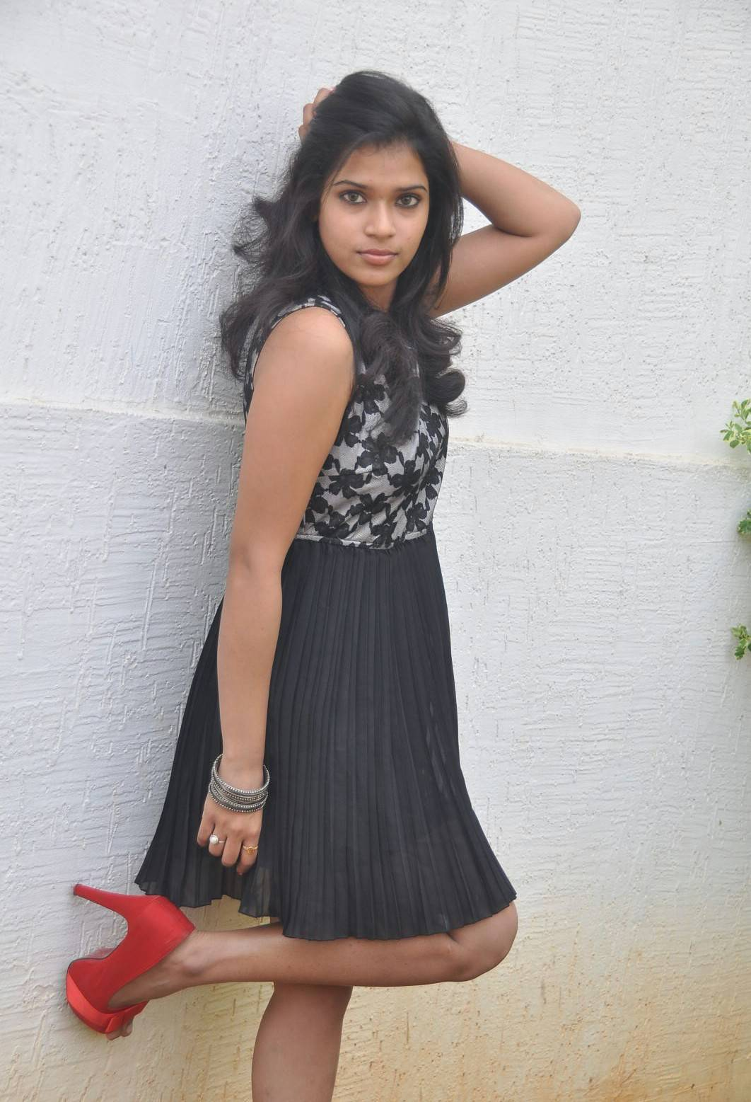 Actress Bhargavi Latest Cute Hot Black Short Dress Spicy Thighs Show Photos Gallery