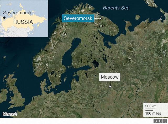 Localização da base de Severomorsk no Ártico russo, onde estaria o submarino acidentado.