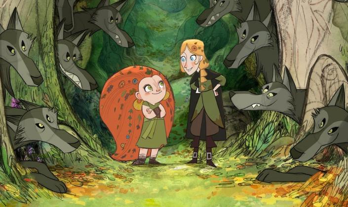 Imagem de capa: duas meninas numa floresta, uma é baixinha e ruiva, com os cabelos enormes e cheios de folhas e flores, olhos verdes e uma roupa verde com botas marrons e outra, loira, de olhos azuis, com roupas verdes e uma capa longa e preta, as duas estão cercadas por lobos que surgem entre as árvores.