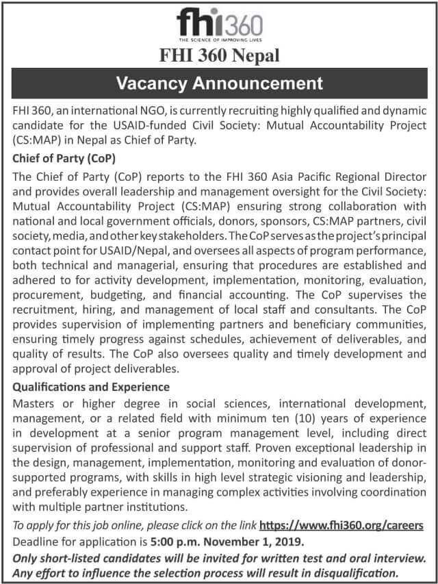 FHI 360 Nepal Vacancy for Chief of Party