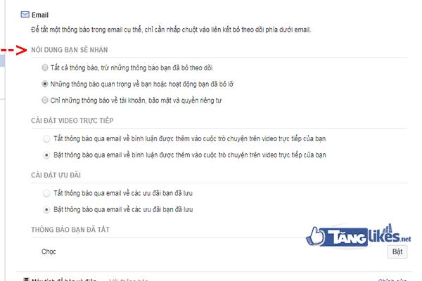 chan thong bao tu facebook ve email dang ky