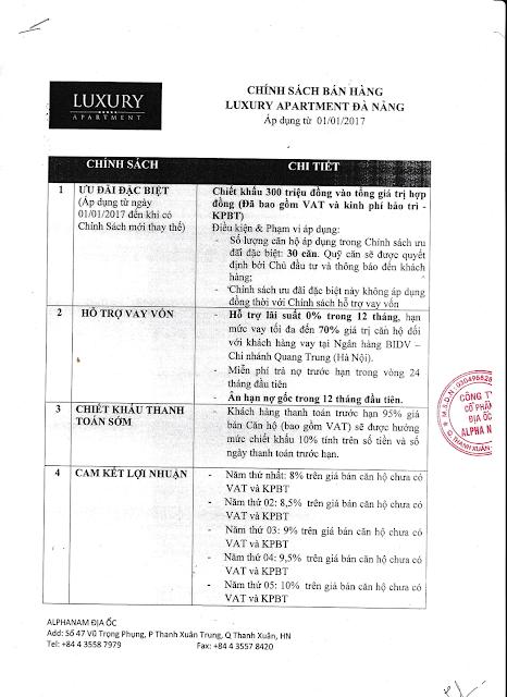 Chính sách ưu đãi khi mua căn hộ Luxury Apartment