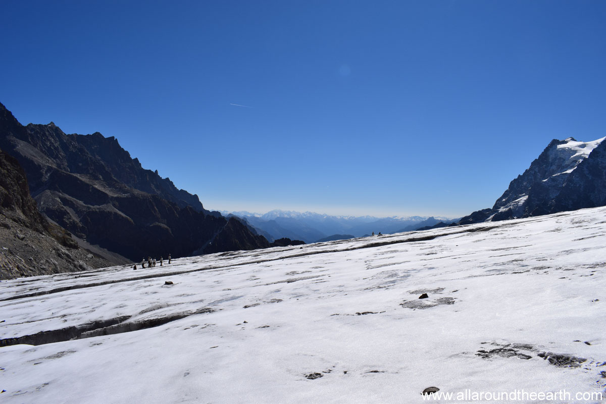 The view from on top of Glacier Blanc in the Ecrins National Park in the Alps of France