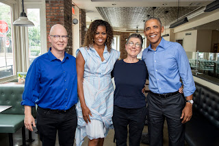 President Barack Obama and Michelle Obama of Higher Ground Productions with directors Julia Reichart and Steven Bognar of the Academy Award-winning documentary American Factory