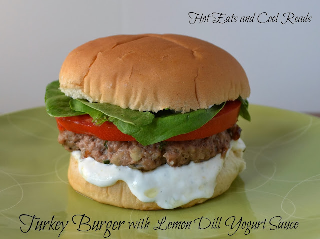 A fun, easy and delicious burger recipe that's great on the grill or stovetop! So healthy too! Turkey Burgers with Lemon Dill Yogurt Sauce Recipe from Hot Eats and Cool Reads