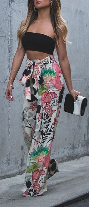 summer outfit idea: crop top + pants