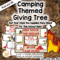 This Camping Themed Giving Tree is perfect to get your supplies for Back-to-School Nite or Open House!