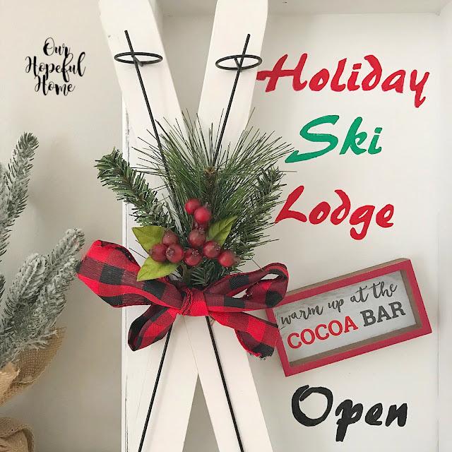 mini wooden skis faux greenery red black buffalo check ribbon