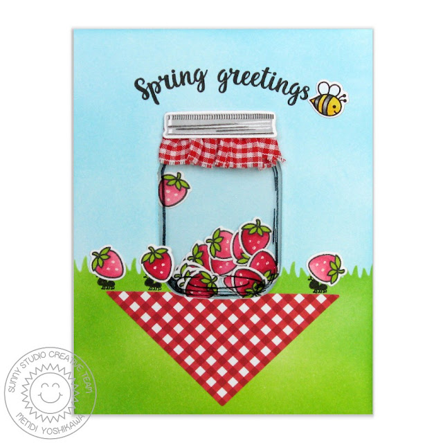 Sunny Studio Stamps: Vintage Jar Card by Mendi Yoshikawa (with strawberries from Sweet Shoppe, Ants from Summer Picnic & bumblebee from Backyard Bugs)