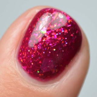 plum jelly nail polish with flakies