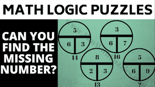 Can you find the values of the missing numbers in these maths logic brain teasers?