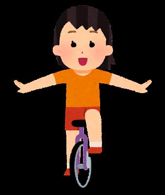 一輪車に乗る子供のイラスト(女の子)