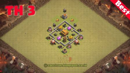Formasi clash of clans town hall 3 war base layout