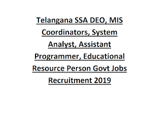 Telangana SSA DEO, MIS Coordinators, System Analyst, Assistant Programmer, Educational Resource Person Govt Jobs Recruitment 2019