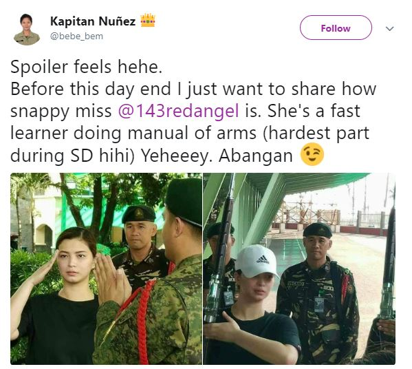 Lady Member Of The Philippine Army Praised Angel Locsin For Being A Fast Learner