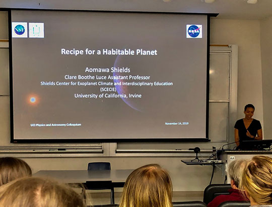 UCI Professor Aomawa Shields speaks on habitable planets at UCI physics colloquium (Source: Palmia Observatory)