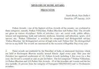 Press Note for Padma Awards by Indian Government