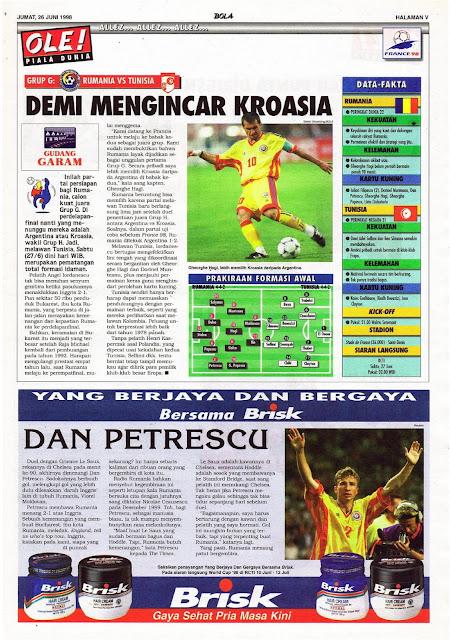 WORLD CUP 1998 ROMANIA VS TUNISIA