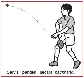 servis pendek secara backhand