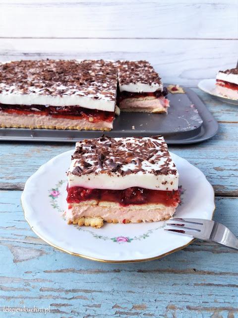 Ciasto Rubin bez pieczenia (z wiśniami i kremem) / 'Ruby' No Bake Cherry Cake