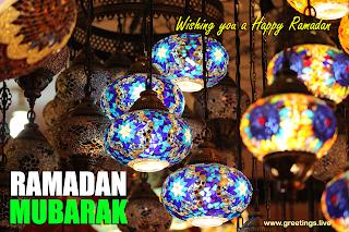 "Ramadan mubarak 2019 EID greetings ""wishing you a happy Ramadan "" colorful lanterns light"