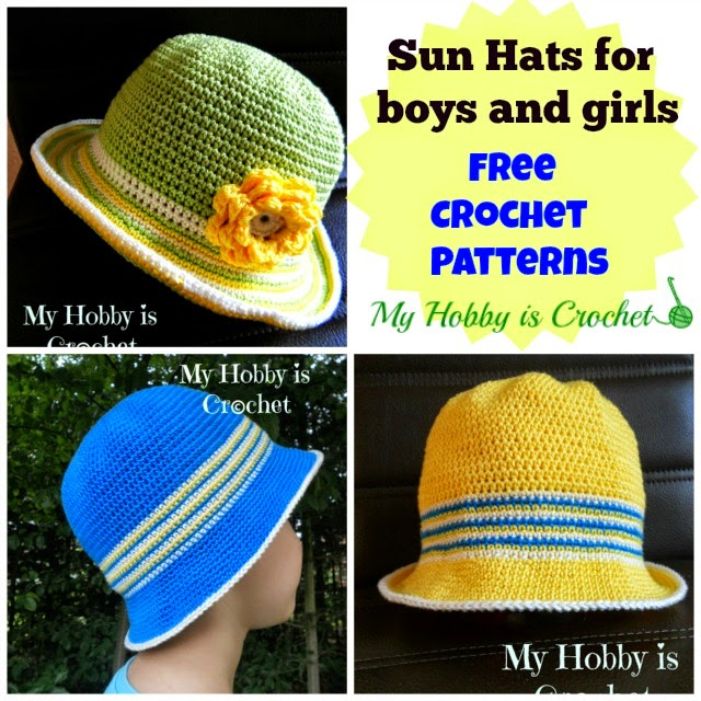 "Crochet Cotton Sun Hat for Children ""Ocean and sun""- Free pattern"