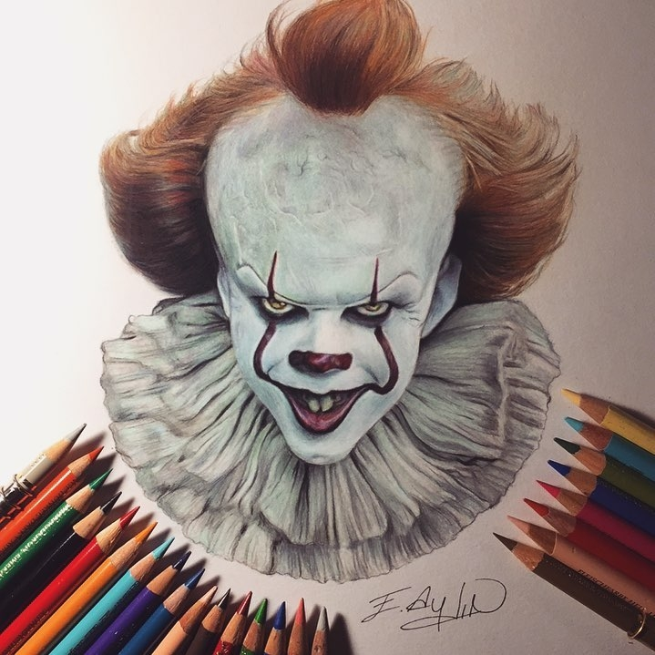 11-It-Stephen-King-Pennywise-Emre-Aydin-Celebrity-Pencil-Drawings-in-Movies-and-TV-www-designstack-co
