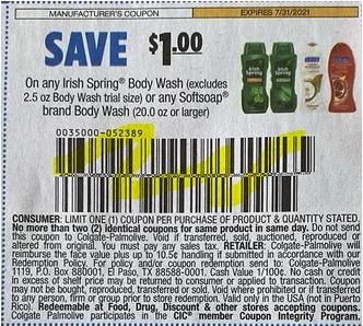 """$1.00/1-Irish Spring Body Wash Or Softsoap Body Wash 20 Oz Or Larger Coupon from """"SMARTSOURCE"""" insert week of 7/18/21."""