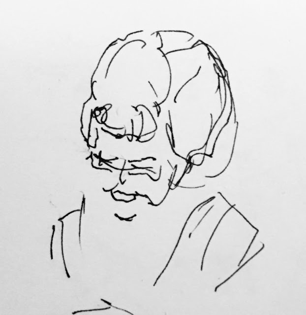 Pen and ink drawing of woman with high hairdo smiling.