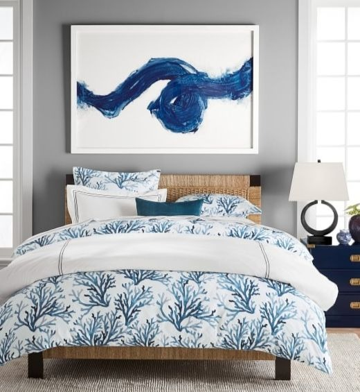 Blue Printed Coral Bedding Idea