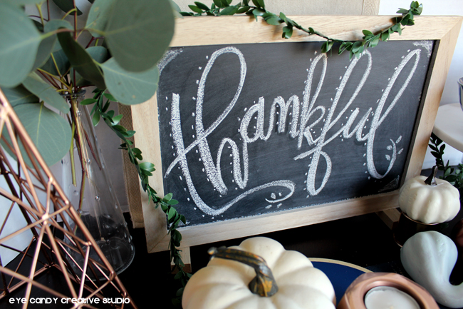 thankfu, chalkboard, hand lettering, holiday table decor, holiday recipe