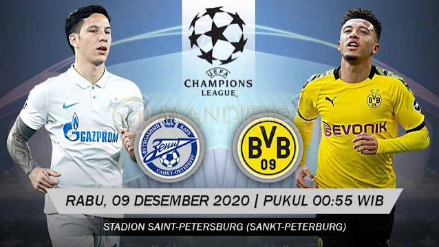 Prediksi Zenit St. Petersburg Vs Borussia Dortmund, Rabu 09 Desember 2020 Pukul 00.55 WIB @ SCTV