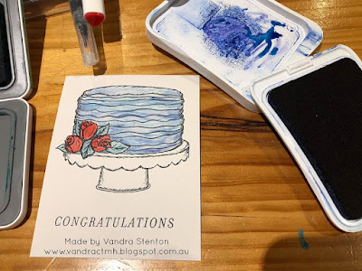 #CTMHVandra, CTMH, SOTM, S1906, Congratulations, cake, shimmer, Shimmer Brush, painting, watercolour brushes, Water colour Paints, painting with ink, Birthday, Wedding, Rose, color dare, Colour Dare Challenge,