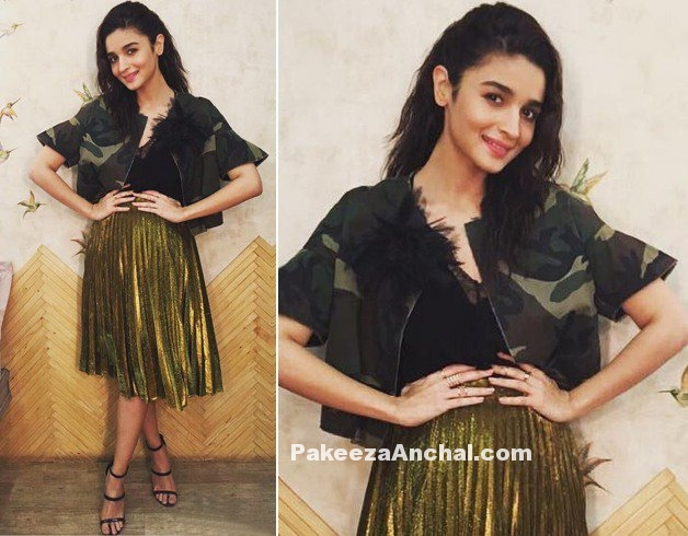Alia Bhatt in Gold Metallic Pleated Midi Skirt