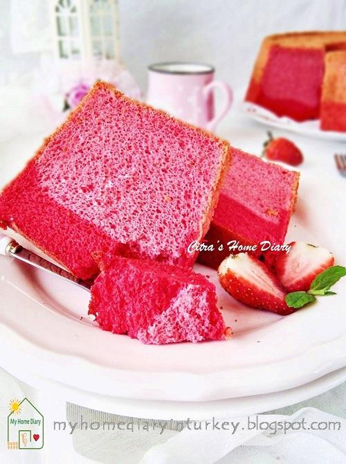 STRAWBERRY CHIFFON CAKE, best recipe from fresh strawberry