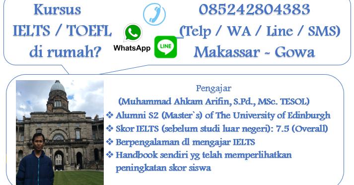 Kursus Di Rumah Les Privat Ielts Toefl Makassar Gowa M Ahkam A