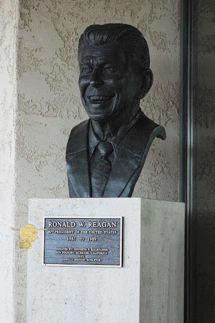 Bust Of Ronald Reagan Outside Of Library