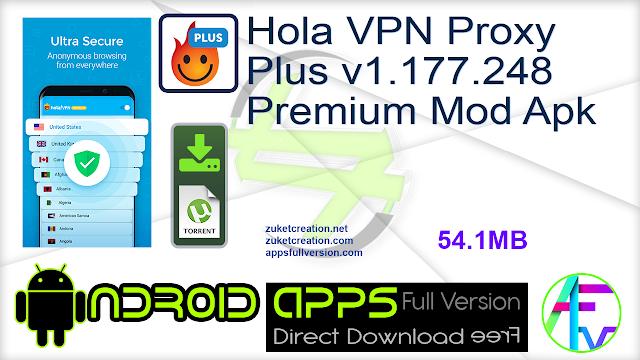 Hola VPN Proxy Plus v1.177.248 Premium Mod Apk