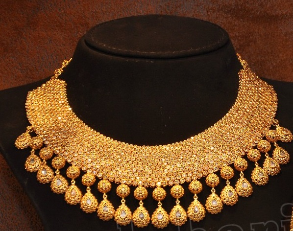 bollywood image bridal cz is plated jewellery pendant heavy loading itm gold s necklace set indian