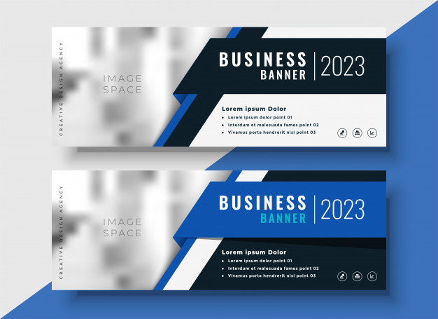 Professional blue business banners with image space Free Vector