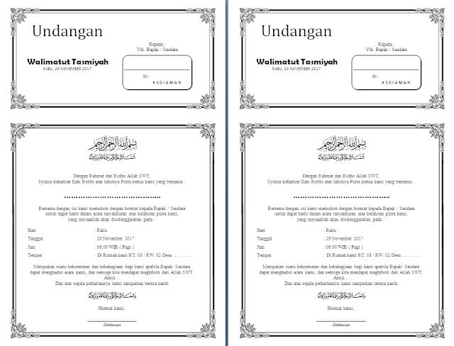 Contoh undangan Walimatul Aqiqah, Tasmiyah, Selapanan