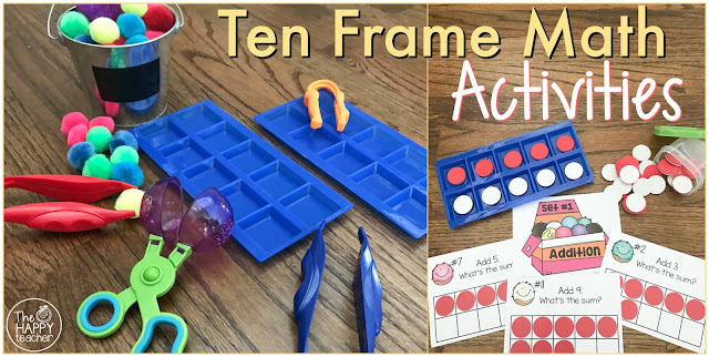 Math manipulatives, ten frames, addition and subtraction