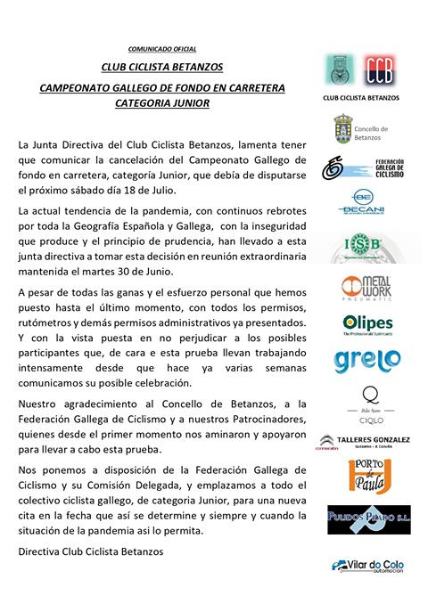 Se cancela el Campeonato de Galicia Júnior de Fondo en carretera
