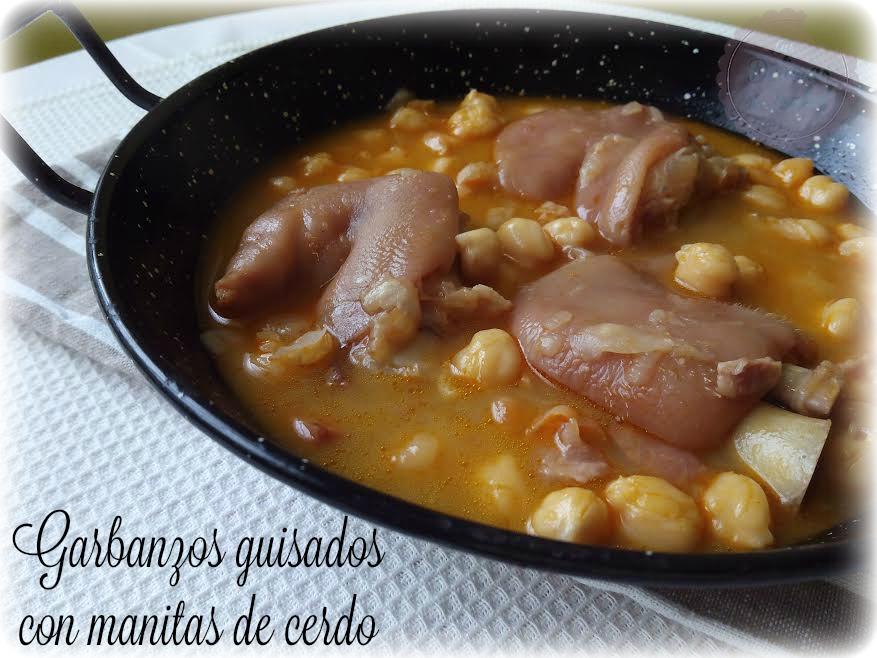 Garbanzos guisados con manitas de cerdo las delicias de - Como hacer garbanzos guisados ...