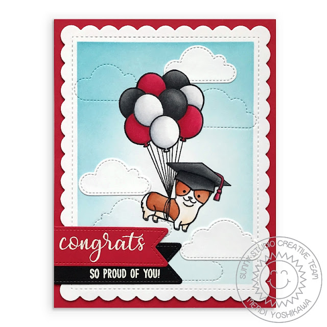 Sunny Studio Stamps: Congrats to the Grad Red, White & Black Dog Graduation Card (using Party Pups, Floating By, Everythings Rosy, Woo Hoo Stamps and Frilly Frames, Fluffy Clouds and Fancy Frames Dies)