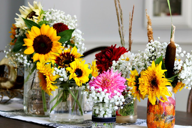 mason jars, flowers, sunflowers, dahlias, homegrown.