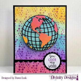 Divinity Designs Stamp Set: Color My World, Custom Dies: Globe & Stand, Circles, Scalloped Circles, Bitty Borders, Pierced Rectangles, Mixed Media Stencil: Bubbles