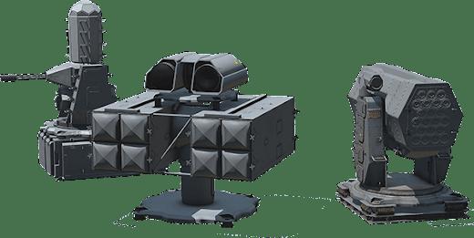 3 つの自動防空火器